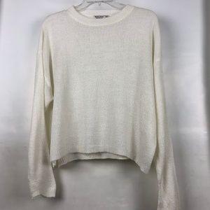 Bershka demi crop boxy white crew neck sweater